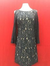 ADRIANNA PAPELL DRESS/NAVY/LACE/RETAIL$159/COLD SHOULDER/SIZE 10/LINED/LENGTH 37
