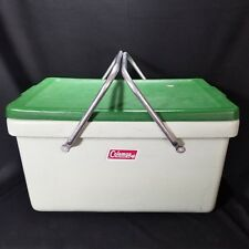 VTG Coleman 70's Mint Green Plastic With Metal Handles Cooler Camping icechest
