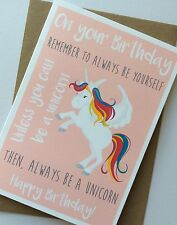 Personalised Handmade Birthday Card: Always Be A Unicorn (Quirky Unique)