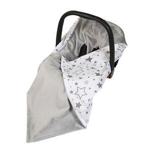 New Baby Car Seat Wrap / Travel Wrap / Blanket - grey + white & grey galaxy star