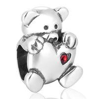 Sweet Teddy Bear Charm, Silver Jewellery Love Charm Bead, Love Hearts Jewellery