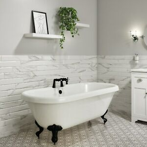 Park Royal Freestanding Bath Double Ended Roll Top White with Black Feet - 1515