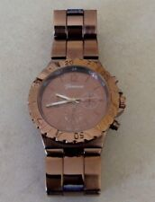 Geneva Mens Quality Watch Round Brown Dial Linked Band Fine Designer Style New!