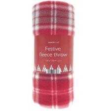 Christmas Festive Fleece Red Throw Winter Sofa Bed Blanket Polyester 120 X 150cm