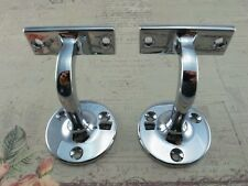 Compact Wall Mounted Handrail Brackets - Chromed Plated  (Lot of 2)