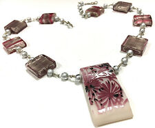 Artisan Pink Blown Glass Square Flower Beaded Pendant Necklace Silver Tone E449