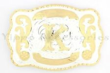 """Initial """"K"""" Letter Large Gold & Silver Rodeo Western Cowboy Metal Belt Buckle"""