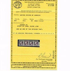 EXCEPTIONAL GENUINE SCOTT #394 VF MINT OG H PF CERT TYPE-I COIL LINE STRIP OF 4