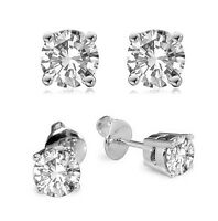 Diamond-Unique  2ct Solitaire Solid Gold 9ct Stud Earrings