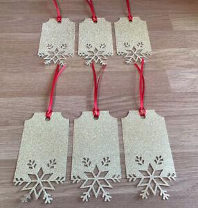 Christmas Gift Tags 6 Glitter X LARGE Gold SNOWFLAKE Festive Season Secret Santa