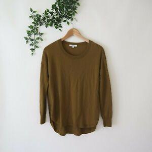 Madewell Women's Merino Wool Curve Hem Lightweight Sweater XS Brown Green