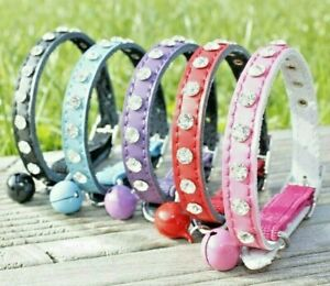 Cat Collar Diamante Leather Safety Elastic Bell Pink Purple Black Red Boy Girl