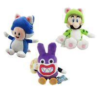 Set of 3 Super Mario 3D World Nabbit/ Cat Luigi/ Cat Plush Doll Toy 18CM
