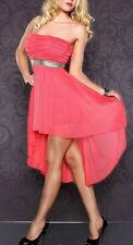 SeXy Miss Damen Vokuhila Chiffon Mini Kleid Bandeau Dress 34/36/38 Coral Gold