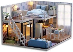 miniatura casa delle bambole con mobili, fai da te kit di Dollhouse di legno