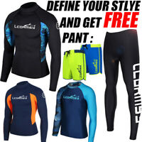 MEN'S RASH GUARD BEACH LONG SLEEVE SURF SWIM TOP SHIRTS WETSUITS GET A FREE PANT