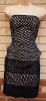 BELLE BY OASIS BLACK CROCHET LACE WHITE SLIP TULIP BODYCON PARTY PROM DRESS 8 S
