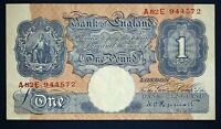 "1940 British Bank of England £1, Banknote, Peppiatt Prefix ""A82E"" [16817]"