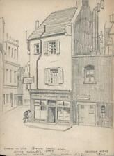 OTTIS CORNER CAFE BROOK'S MEWS MAYFAIR LONDON Pencil Drawing 1948