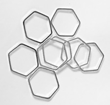 20 silver plated hexagon, silver plated brass double sided hexagon 16x18mm