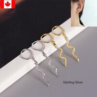 Pair small Hoop Earrings ear stud   S925 Sterling Silver snake Drop Earrings