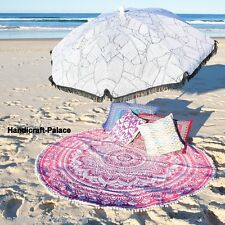 """Indian Mandala Ombre Round Roundie Fringes Tapestry Beach Throw Rug Yoga Mat 48"""""""