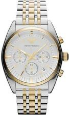 NEW Emporio Armani AR0396 Gold 2tone Chronograph Bracelet Mens SS Watch MSRP$345