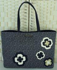 "TOMMY HILFIGER BLUE ""TH"" LOGO JACQUARD TOTE LARGE FLORAL EMBELLISHED HANDBAG"