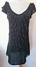 Bardot Black Silver Beaded Summer Party Dress – size 8