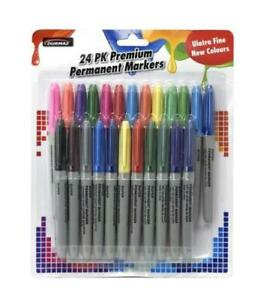 24 pack Premium Permanent Markers Coloured Fine Point Pen Bulk Pack KIDS CRAFT
