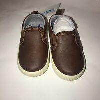 Carter's Ricky 2 Boys Slip On Sneakers Brown #CF20G07B Kids Size 5 Toddler NEW