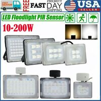 10-200W LED Flood Light PIR Motion Sensor Outdoor Garden Lamp Security Spotlight