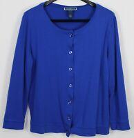 KAREN SCOTT 1X Plus Women's Top Long Sleeve Button-Up Semi-Fitted Cobalt Blue