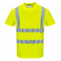 Hi Vis Short Sleeve T-Shirt Cotton/Polyester Blend Reflective ANSI Yellow S170