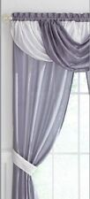 Lilac Patricia Sheer Curtains Waterfall Valance Scarf Drapes Window Treatment