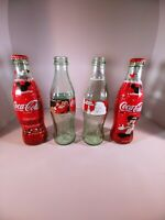 lot of 4 christmas coke bottles santa mickey mouse