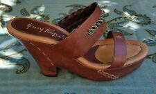 HENRY BEGUELIN Wedge Leather Heels Stone Embellished Sz 39 9 Brown Woven