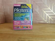 Piksters Interdental Brushes (40-Pack, Size 1) Reusable Flossers With Extension
