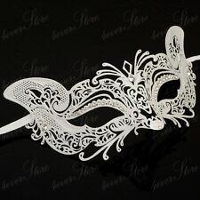 Womens Feline Inspired Laser-Cut Filigree Metal Masquerade Ball Mask [White]