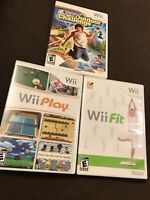🔥3 Game Lot Nintendo Wii Play Wii Fit Active Life Outdoor Challenge