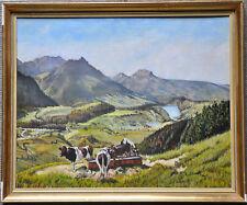 """Öl-Gemälde """"Almlandschaft mit Kühen"""" L. ENSCH um 1930 Schweiz"""