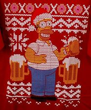 Simpsons christmas shirt mens 2XL beer drunk homer new red tshirt santa W1