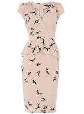 Dorothy Perkins Size 12 Nude 40s Style Dress Swallow Bird Print US 8 EU 40