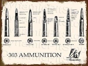30x40cm Rifle .303 Ammunition Diagram Rustic Tin Sign or Decal, Man Cave, Bar
