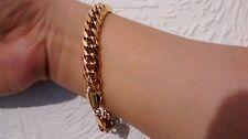 "9"" 11mm 18K Gold Filled Bracelet Curb Chain Men's Style Birthday Christmas Gift"