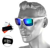 Rennec Herren Sonnenbrille Grün Blau Verspiegelt Weiß Doppelgelenke Nerd R14W
