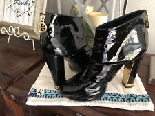 Tory Burch Peep Toe Women's Black Bootie Leather Boots Size 8 M *GUC*