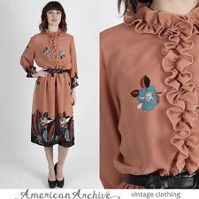 Vintage 80s Floral Secretary Dress Boho Sheer Tuxedo Ruffle Party Midi Mini M