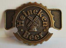 Vintage Heineken Beer Logo Windmill Cap Brass Tone Belt Buckle Bottle Opener NOS