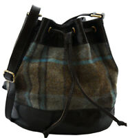 Leather and tweed Drawstring Duffle Shoulder Bag Bucket bag- Tan and Black